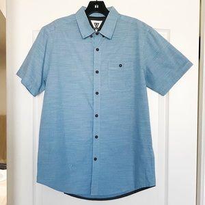 VISSLA Blue Printed Short-Sleeve Woven Shirt